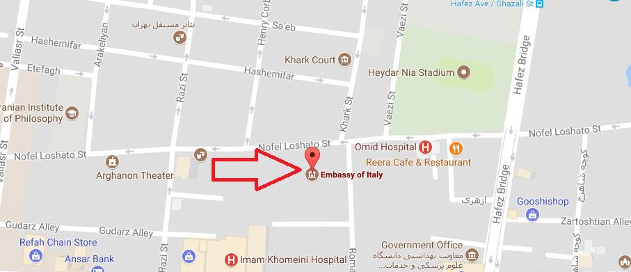 آدرس سفارت ایتالیا
